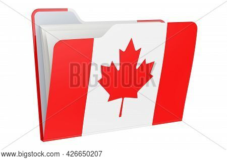 Computer Folder Icon With Canadian Flag. 3d Rendering Isolated On White Background