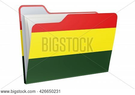 Computer Folder Icon With Bolivian Flag. 3d Rendering Isolated On White Background