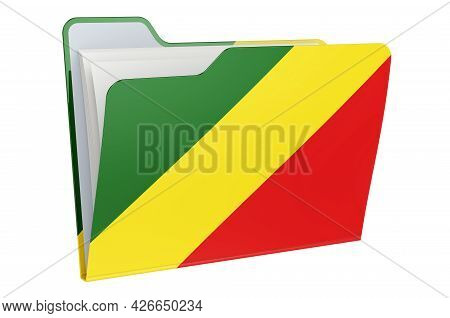 Computer Folder Icon With Congolese Flag. 3d Rendering Isolated On White Background