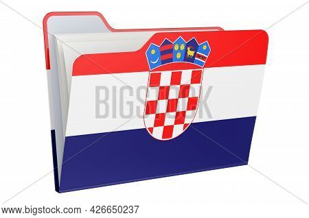 Computer Folder Icon With Croatian Flag. 3d Rendering Isolated On White Background