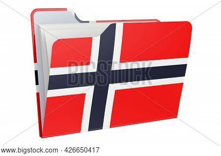 Computer Folder Icon With Norwegian Flag. 3d Rendering Isolated On White Background