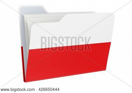 Computer Folder Icon With Polish Flag. 3d Rendering Isolated On White Background