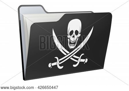 Computer Folder Icon With Pirate Flag. 3d Rendering Isolated On White Background