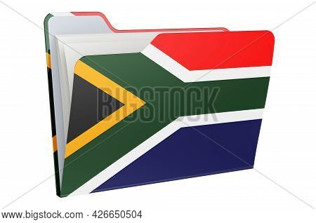 Computer Folder Icon With South African Flag. 3d Rendering Isolated On White Background