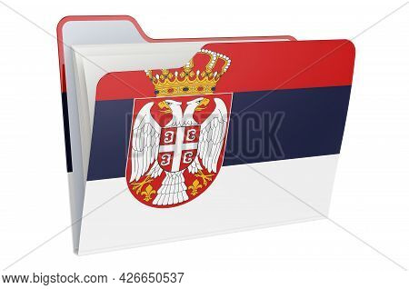 Computer Folder Icon With Serbian Flag. 3d Rendering Isolated On White Background