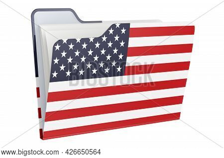 Computer Folder Icon With The United States Flag. 3d Rendering Isolated On White Background