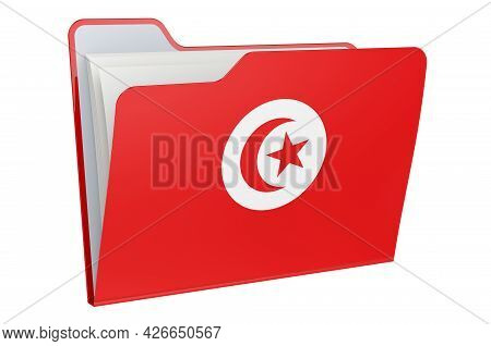 Computer Folder Icon With Tunisian Flag. 3d Rendering Isolated On White Background