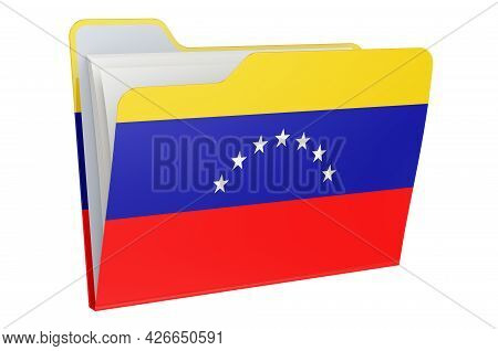 Computer Folder Icon With Venezuelan Flag. 3d Rendering Isolated On White Background