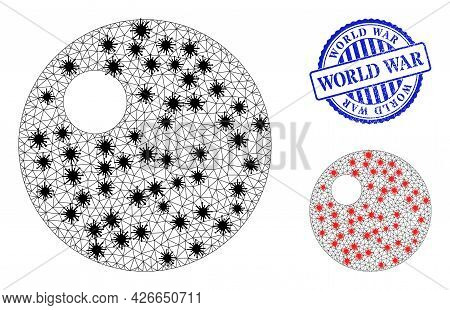 Mesh Polygonal Sphere Icons Illustration With Infection Style, And Scratched Blue Round World War Se