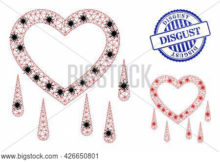 Mesh Polygonal Crying Heart Symbols Illustration In Infection Style, And Textured Blue Round Disgust