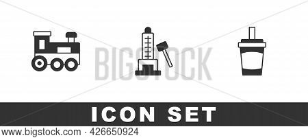 Set Toy Train, Striker Attraction With Hammer And Paper Glass Water Icon. Vector