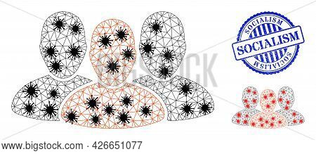 Mesh Polygonal User Group Icons Illustration In Infection Style, And Rubber Blue Round Socialism Sta