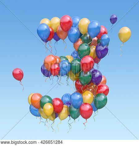 Number 3 three from balloons in the sky. Text letter for age, holiday, birthday, celebration. 3d illustration