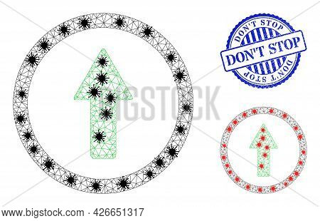 Mesh Polygonal Rounded Up Arrow Symbols Illustration With Lockdown Style, And Textured Blue Round Do