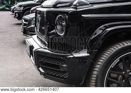 Moscow, Russia - June 2021: Part Of Black Suv Mercedes-benz G Class Gelandewagen Parked Next To Mosc