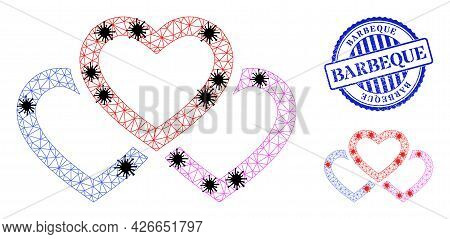 Mesh Polygonal Triple Love Hearts Symbols Illustration With Infection Style, And Rubber Blue Round B