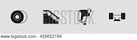 Set Skateboard Wheel, Stairs With Rail, Helmet And Icon. Vector