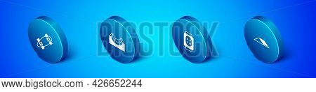 Set Isometric Longboard Or Skateboard, Knee Pads, Skate Park And Icon. Vector
