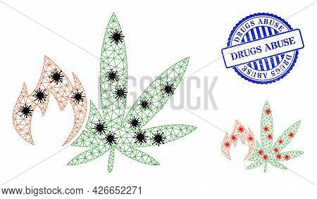 Mesh Polygonal Hot Cannabis Icons Illustration In Lockdown Style, And Distress Blue Round Drugs Abus
