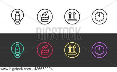 Set Line Lactose Free, Hand Wash Laundry, Temperature And Clock On Black And White. Vector