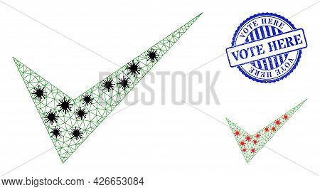 Mesh Polygonal Yes Sign Symbols Illustration In Lockdown Style, And Scratched Blue Round Vote Here S