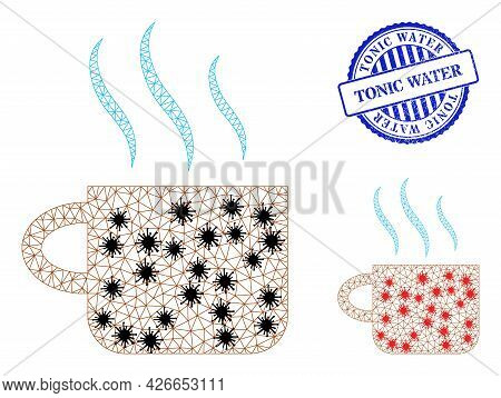 Mesh Polygonal Hot Tea Cup Symbols Illustration In Outbreak Style, And Scratched Blue Round Tonic Wa