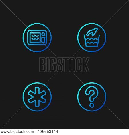 Set Line Unknown Search, Medical Symbol Of The Emergency, Microwave Oven And Hand Wash Laundry. Grad