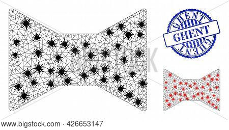 Mesh Polygonal Tie Bow Icons Illustration With Outbreak Style, And Scratched Blue Round Ghent Badge.