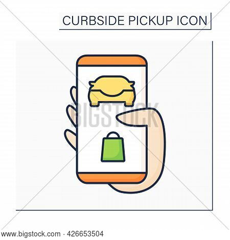Application Color Icon. Tracking Order. Curbside Pickup Mobile App. Online Ordering And Delivery. Co
