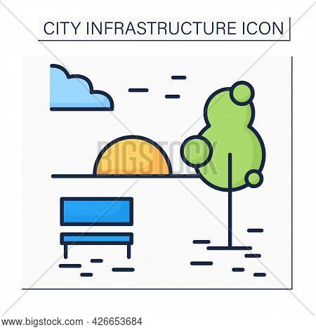 Open Space Color Icon. Public Park With A Bench To Sit. Areas Open For Use For Recreation. Outline D