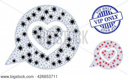 Mesh Polygonal Favourite Heart Message Icons Illustration Designed Using Infection Style, And Rubber
