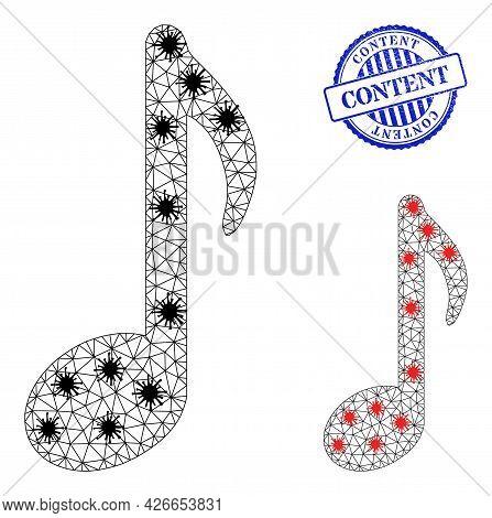 Mesh Polygonal Music Note Icons Illustration In Infection Style, And Textured Blue Round Content Bad