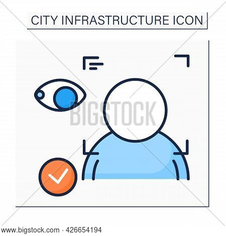 Facial Recognition Color Icon. Technology Identifying A Person From A Digital Image. Facial Recognit