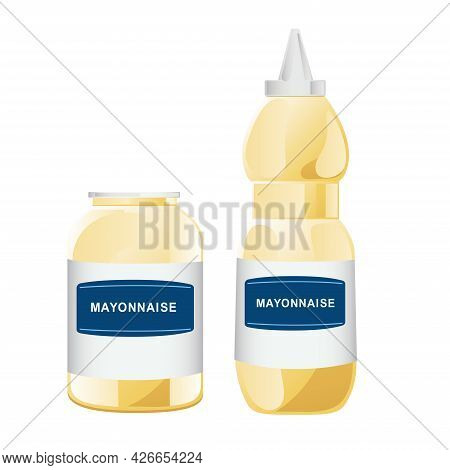 Mayonnaise In Glass Bottles Set. Jars With White Sauce. Condiment Containers In Cartoon Style. Vecto