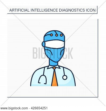 Robot Color Icon. Ai In Medicine. Digital Doctor. Modern Technologies. Ai Diagnostic Concept. Isolat