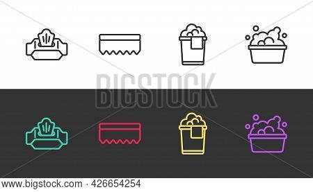 Set Line Wet Wipe Pack, Sponge, Bucket With Foam And Basin Soap Suds On Black And White. Vector