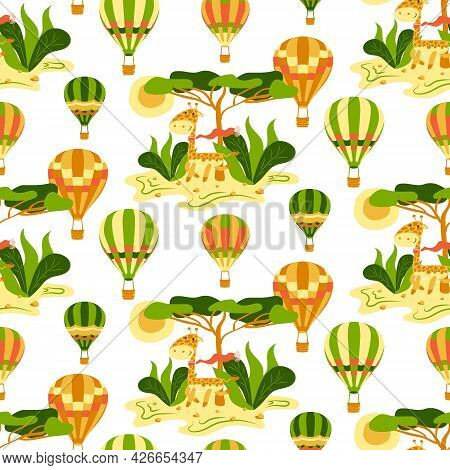 Childish Seamless Pattern With Hot Air Balloons, Giraffe And Savanna On A White Background. Vector K