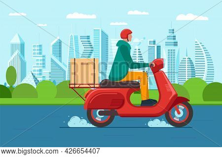 Fast Intercity Delivery Service Courier On Motor Scooter. Express Logistic Male On Red Moped Deliver