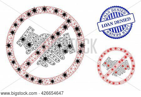 Mesh Polygonal Stop Handshakes Icons Illustration With Outbreak Style, And Rubber Blue Round Loan De