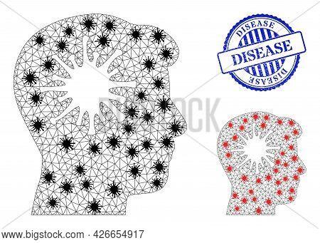 Mesh Polygonal Coronavirus Brain Symbols Illustration In Outbreak Style, And Grunge Blue Round Disea
