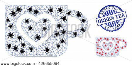 Mesh Polygonal Favourite Cup Icons Illustration With Lockdown Style, And Scratched Blue Round Green