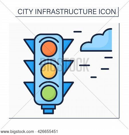 Traffic Lights Color Icon. Signaling Device To Control Flows Of Traffic. Road Regulation. Outline Dr
