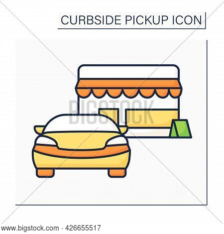 Curbside Pickup Color Icon. Customer Waiting Order Near Store. Parking. Contact-free Delivery Concep