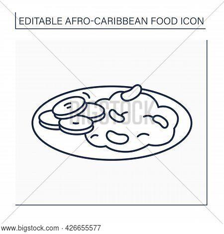 Ewa Riro Line Icon. Beans Porridge, Stewed Beans. Yoruba Traditional Dish. Afro-caribbean Food.local