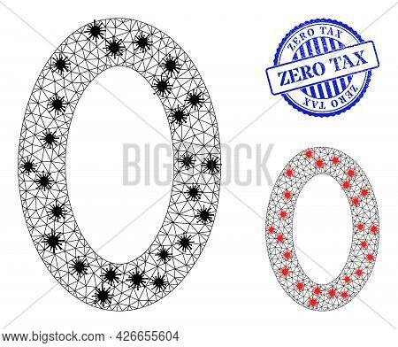 Mesh Polygonal Digit Zero Icons Illustration Designed Using Lockdown Style, And Distress Blue Round