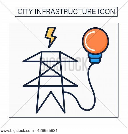 Electricity Supply Color Icon. Utility Pole Connected To Power Lines To Distribute Lower Voltage Pow