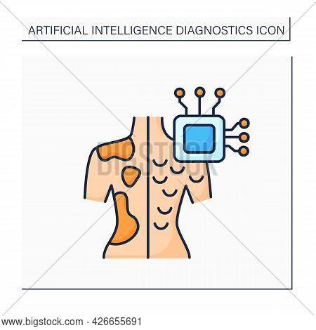 Ai In Medicine Color Icon. Microchip In Human Body.digital Technologies. Skin Cancer Diagnosis.ai Di