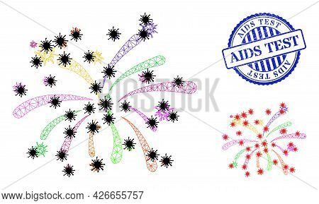 Mesh Polygonal Viral Fireworks Symbols Illustration In Outbreak Style, And Scratched Blue Round Aids