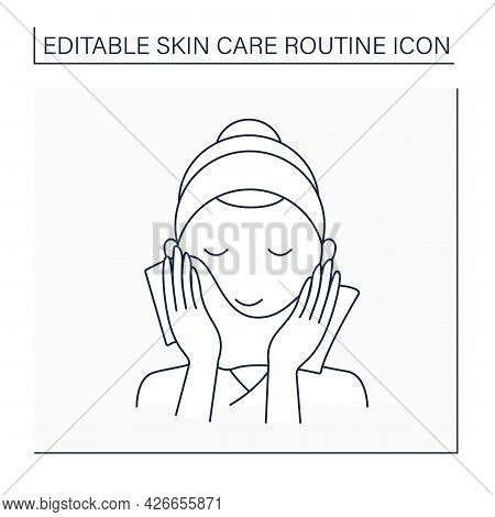 Beauty Procedure Line Icon. Woman Wipe Face By Special Wiping Cloth. Cosmetology. Skin Care Routine