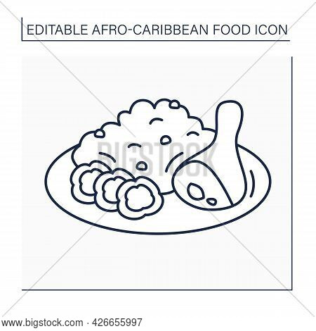Afro-caribbean Food Line Icon. Jollof Rice And Fried Stewed Chicken. Local Food Concept. Isolated Ve